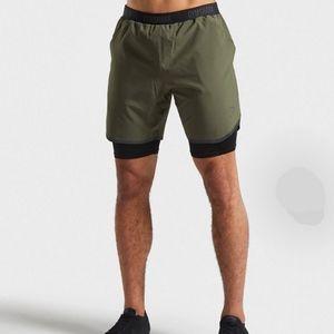 NWT Gymshark 2 in 1 Tech Shorts, Hunter Green, L